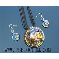 Murano Glass Pendant Necklace Earring Jewelry Set,Murano Jewelry Pendant