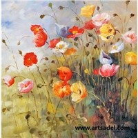 100% Handmade Impression Flower Oil Painting on Canvas