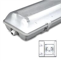 140 x 100mm Water-resistant T8 Fluorescent Lamp with IP65 Protection Grade and Plastic Body
