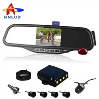 ALD100C-bluetooth mirror with 3.5'monitor, wireless back-up camera with car parking sensor