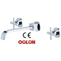 Faucet for bathroom with double handle wall mounted