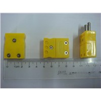 Type K Thermocouple Connector , Male & Female,Yellow Black Color Big Size