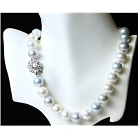 Classic Majestic  multi color shell pearl with flower clasp
