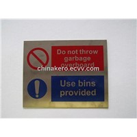 Stainless Steel Safety Signs - Nonluminous