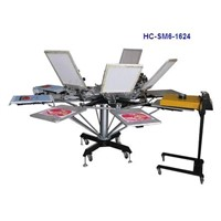 Manual 6 color 6 worktable screen printing machine