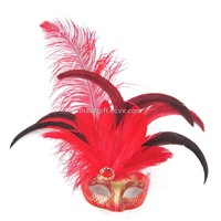 Red & Gold Venetian Feather Mask