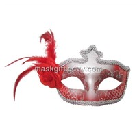 Red & Silver Venetian Feather Mask