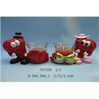 Resin Cartoon Red Heart Candle Holder(FH7338)