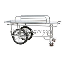 Stainless Steel Medical Strectcher with Two Big and two Small Wheels