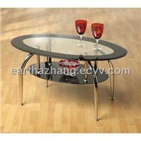 oval tempered glass end table xyct-149