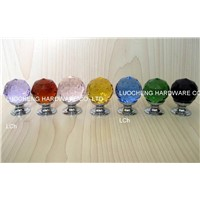 Colored Cut Crystal Knobs on Brass Chrome Base or Zinc Base