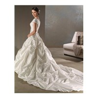 Custom Made Formal Flowery Wedding Dress with Short Sleeves