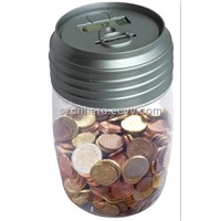 Crystal Plastic Digital Money Jar for Counting Coin (HR-313)