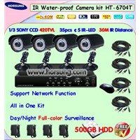 Water-Proof Camera and 4ch DVR Kit HT-6704T