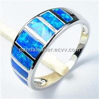 Silver blue fire opal gemstone ring#8
