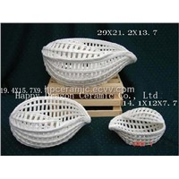 Transparent Glazed Shell Shape Fruit Basket