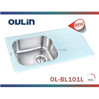 Unique Design 304 High-End Stainless Steel Bowl with Glass Panel Kitchen Sink (Ol-Bl101l)