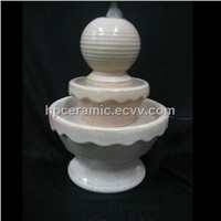 White Glazed Double Layer Ceramic Water Fountain
