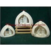 Woven Porcelain Nativity Figurines