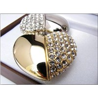 Gold Diamond Heart Shape USB Memory Stick 1GB-16GB