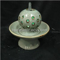 Green Glazed Hollow Ball Ceramic Tabletop Fountain