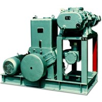 Root pump vacuum systems with rotary pistion pumps