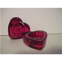 SET OF RED GLASS HEART VOTIVE CANDLE HOLDERS