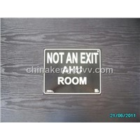 Photoluminescent Aluminium Safety Sign -- Not An Exit Ahu Room