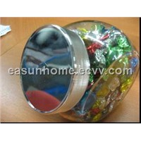 Glass jar with plastic metalized lid