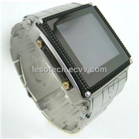 Stainless Steel Mobile Phone Wristwatch with Quad Band, GSM/GPRS/Waterproof(LU-1018)