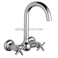 double handle double hole kitchen faucet
