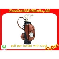 Mini novelty golf pen holder with digital clock used Business Gift