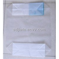 PE film transparent block bottom valve bag for 25kg packing