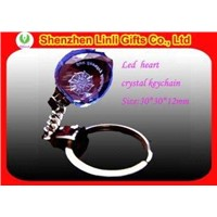 Supply Blue Heart Shpaed LED Promotion Crystal Gift Key Chain