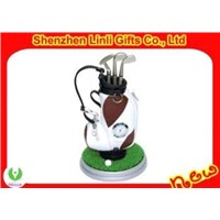bag-shaped Mini novelty golf pen holder with digital clock gifts