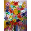 Shining flower oil paitings, Hand painted abstract flower painting