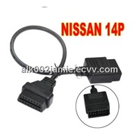 Alk Nissan 14 Pin Obd to Obdii Connector Nissan Obd Connector