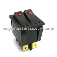 Double pole lighted Rocker Switches 6 pins On-off,on-on Function