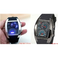 2012Cool RPM Turbo Blue Flash LED Watch BRAND NEW Gift Sports Car Meter Dial forMen