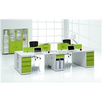 2012 Modern New Design 4 seats plywood and steel frame office workstation furniture manufacturer