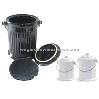 2 pc ceramic compost pail set,with 1 small size & 1 large size