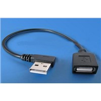 3m right angle USB A male to female cable