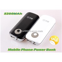 5200mAh Portable Power Bank for iPhone 5, Samsung Galaxy S2/S3
