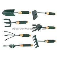 7 pc garden tool set with wooden handle