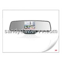 Car rearview mirror with 3.5'TFT & wireless back-up camera & 4 parking sensors