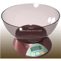 Digital kitchen weighing scale with plastic bowl (EKVA)