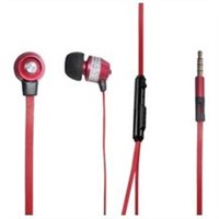 Flat cable earphone with volume control and microphone