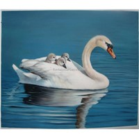 Hand painted Swan oil painting for decoration