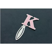"Hot sale ""K"" alphabet on the metal bookmark"