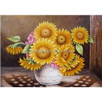 Hot sell sunflower oil painting, hand made painting on canvas, low price